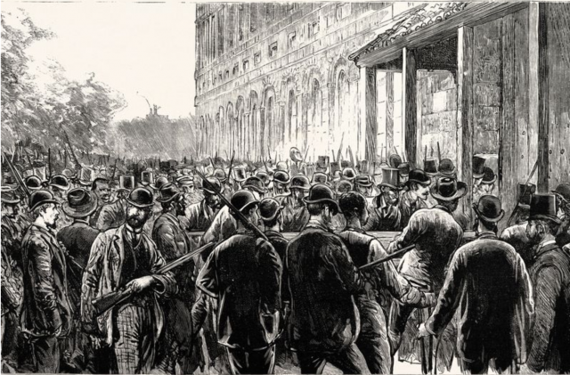 Illustration of the lynchers breaking into the prison in 1891 (Photo by: Universal History Archive/UIG via Getty Images)
